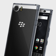 Protect the back and sides of your sleek BlackBerry KEYone with this incredibly durable smoke black backed Fusion Case by Ringke.