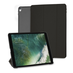 Protect your iPad Pro 10.5 with this supremely functional transparent and black case with viewing stand feature. Also features smart sleep / wake functionality.