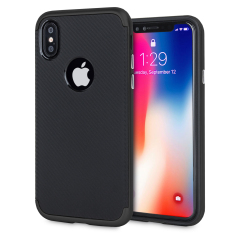 Hybrid layers of robust TPU and hardened polycarbonate with a premium matte finish non-slip carbon fibre design, the Olixar X-Duo case in black keeps your iPhone X safe, sleek and stylish.
