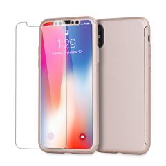 Volledige bescherming voor de voor -en achterkant en het scherm van je iPhone X in drie tellen met de Olixar X-Trio. Met een slank clip-on hoesje voor de achterkant dat naadloos aansluit op de telefoon en een gehard glazen screenprotector om de iPhone X volledig te omsluiten.