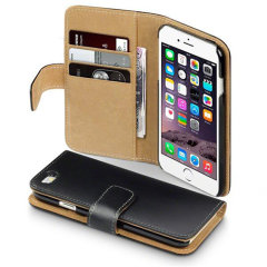 Terrapin Leather-Style Apple iPhone 6S / 6 Wallet Case - Black / Tan
