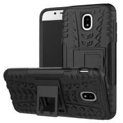 Protect your Samsung Galaxy J5 2017 from bumps and scrapes with this black Olixar ArmourDillo case. Comprised of an inner TPU case and an outer impact-resistant exoskeleton, with a built-in viewing stand.