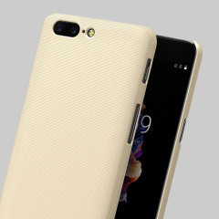 Specifically made for the OnePlus 5, this protective gold hard shell case from Nillkin will shield your phone from everyday knocks and drops.