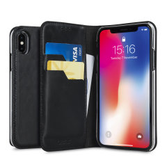 A premium slimline black genuine leather case. The Olixar genuine leather executive wallet case offers perfect protection for your iPhone X, as well as featuring a smart magnetic media stand and slots for your cards, cash and documents.