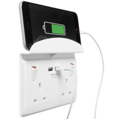 This stylish white 2 gang power socket allows you to charge your mobile devices while keeping your precious plug sockets free for other devices. Also included is an ingenious phone or tablet shelf to place your devices in while charging.