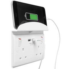2 Port USB Double UK Plug Socket with Phone Shelf