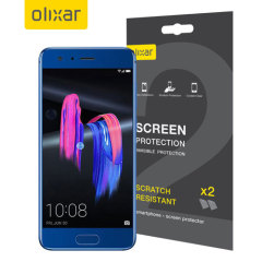 Keep your Huawei Honor 9's screen in pristine condition with this Olixar scratch-resistant screen protector 2-in-1 pack.