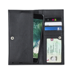 Crafted from premium quality genuine leather, with precision stitching and stud closure, and featuring a luxurious soft lining, document pockets and card slots, the Primo Wallet case will accommodate and protect most phones on the market in style.