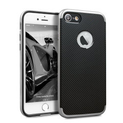 Hybrid layers of robust TPU and hardened polycarbonate with a premium matte finish non-slip carbon fibre design, the Olixar X-Duo case in black and silver keeps your iPhone 7S safe, sleek and stylish.