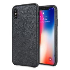 Olixar Ostrich Premium Genuine Leather iPhone X Case - Black