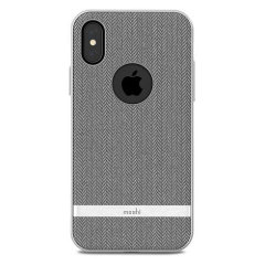 Moshi Vesta iPhone X Textilmuster Hülle - Herringbone Grau