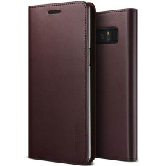 VRS Design Genuine Leather Diary Samsung Galaxy Note 8 Case - Wine