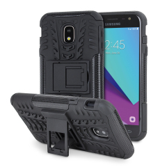 Protect your Samsung Galaxy J3 2017 from bumps and scrapes with this black ArmourDillo case. Comprised of an inner TPU case and an outer impact-resistant exoskeleton, with a built-in viewing stand.