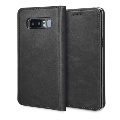 Olixar Genuine Leather Galaxy Note 8 Executive Wallet Case - Black