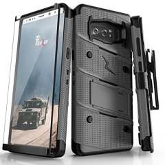 Equip your Samsung Galaxy Note 8 with military grade protection and superb functionality with the ultra-rugged Bolt case in steel and black from Zizo. Coming complete with a tempered glass screen protector, handy belt clip and integrated kickstand.