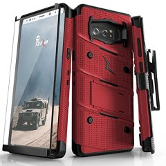 Equip your Samsung Galaxy Note 8 with military grade protection and superb functionality with the ultra-rugged Bolt case in red and black from Zizo. Coming complete with a tempered glass screen protector, handy belt clip and integrated kickstand.