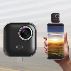KSIX Full Immersion VR 360 MicroUSB Camera w/ USB-C Adapter - Black