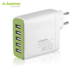 Ideal for use by your desk,bedside or whilst on travel, this Avantree mains charger includes 5 USB smart ports totalling an impressive 9.6 Amps output for recharging your mobile or even power hungry tablet devices quickly. EU mains plug.