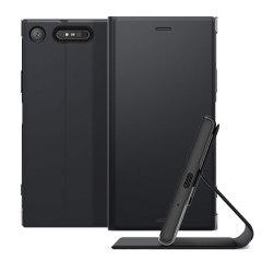 Deze officiële case van hoge kwaliteit van Sony huisvest je Xperia XZ1-smartphone en biedt bescherming en toegang tot je poorten en functies terwijl je een ingebouwde standaard hebt.