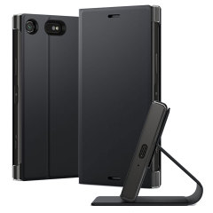 This high quality official bi-fold folio case from Sony houses your Xperia XZ1 Compact smartphone, providing protection and access to your ports and features while incorporating a built-in viewing stand - in black.