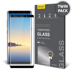 Keep your Samsung Galaxy Note 8's screen in pristine condition with this 2 pack of Olixar Tempered Glass screen protectors, designed to cover and protect even the curved edges of the phone's unique display. Black edges match the black phone perfectly.