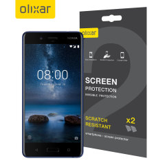 Keep your Nokia 8's screen in pristine condition with this Olixar scratch-resistant screen protector 2-in-1 pack.