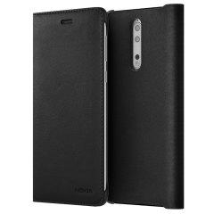 Official Nokia 8 Leather Flip Wallet Case - Black
