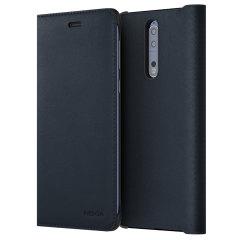 Official Nokia 8 Leather Flip Wallet Case - Blue