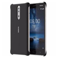 Protégez votre Nokia 8 avec élégance contre les dommages accidentels du quotidien à l'aide de la coque officielle Soft Touch en coloris noir.