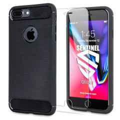 Flexibele, robuuste behuizing met een eersteklas, matte antislip koolstofvezel en een geborsteld metalen ontwerp, de Olixar Sentinel-hoes beschermt je iPhone 7 Plus tegen 360 graden met de toegevoegde bonus van een gehard glazen schermbeschermer.