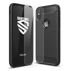 Flexible rugged casing with a premium matte finish non-slip carbon fibre and brushed metal design, the Olixar Sentinel case in black keeps your iPhone X protected from 360 degrees with the added bonus of a tempered glass screen protector