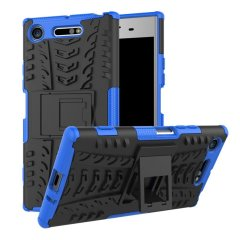 Protect your Sony Xperia XZ1 from bumps and scrapes with this blue ArmourDillo case. Comprised of an inner TPU case and an outer impact-resistant exoskeleton, with a built-in viewing stand.