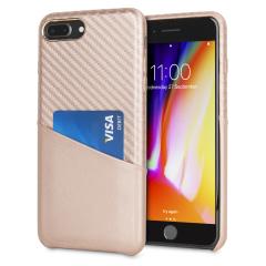 Olixar iPhone 8 Plus/7 Plus Carbon-Faser-Karten-Beutel-Hülle -RoseGold