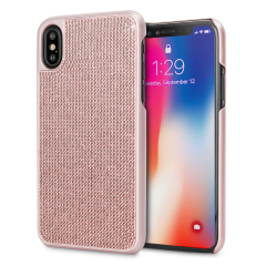 LoveCases Luxuriöse Kristall iPhone X Hülle - Rose Gold