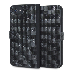 Form meets function in this elegant, understated yet undeniably indulgent wallet case for iPhone 8 / 7 / 6S / 6. Embedded crystals adorn the front and back of this case, adding a shimmering grace, while 2 card slots allow you to store cards, ID and more.