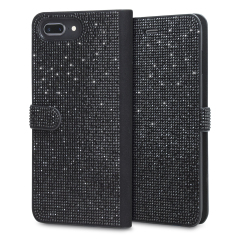 Form meets function in this elegant, understated yet undeniably indulgent wallet case for iPhone 8 Plus / 7 Plus. Embedded crystals adorn this case, while 2 card slots allow you to store cards, ID and more. Also compatible with 6S Plus / 6 Plus.