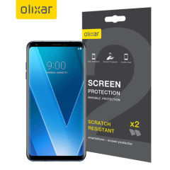 Keep your LG V30's screen in pristine condition with this Olixar scratch-resistant screen protector 2-in-1 pack.