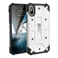 The Urban Armour Gear Pathfinder white rugged case for the iPhone X features a classic tough-looking, composite design with a soft impact-absorbing core and hard exterior that provides superb protection in all situations.