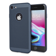 A supremely precision engineered lightweight slimline case in marine blue with a perforated mesh pattern that looks great, adds grip and aids heat dissipation from your iPhone 8 / 7, as well as enhance the high performance beauty of the device.
