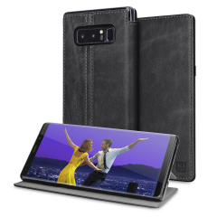Lavish your Samsung Galaxy Note 8 with a luxurious flip wallet case. Featuring a black genuine leather exterior with beautiful stitching details, this Olixar wallet case will also store your credit and debit cards.