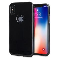 Olixar FlexiShield iPhone X Hülle mit Logoausschnitt in Schwarz