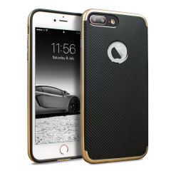 Olixar X-Duo iPhone 8 Plus Hülle in Carbon Fibre Gold