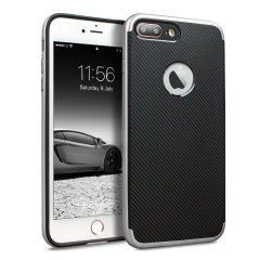 Olixar X-Duo iPhone 8 Plus Hülle in Carbon Fibre Silber