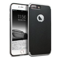 Olixar X-Duo iPhone 8 Plus Case - Carbon Fibre Silver