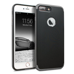 Hybrid layers of robust TPU and hardened polycarbonate with a premium matte finish non-slip carbon fibre design, the Olixar X-Duo case in black and metallic grey keeps your iPhone 8 Plus safe, sleek and stylish.