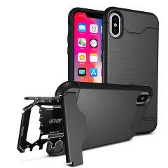 Bereiten Sie Ihr iPhone X für die freie Natur mit dem robusten Olixar X-Ranger Gehäuse in taktischer Schwarzem vor. Mit einem handlichen Kickstand und einem sicheren Fach für das mitgelieferte Multifunktionswerkzeug - oder die Karte Ihrer Wahl - sind Sie bereit für alles.