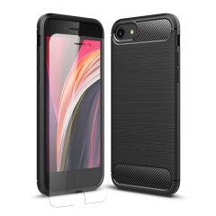 Das robuste Olixar Sentinel-Gehäuse in Schwarz schützt Ihr iPhone 8 durch ein robustes Gehäuse aus hochwertigem matten, rutschfesten Kohlefaser- und gebürstetem Metallgehäuse und bietet einen zusätzlichen Schutz aus gehärtetem Glas