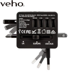 With 4 ultra-fast USB ports and 4 different national plug types built in, this compact, lightweight travel charger from Veho is the perfect companion for you wherever in the world you may be.