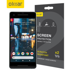 Keep your Google Pixel 2 screen in pristine condition with this Olixar scratch-resistant screen protector 2-in-1 pack.