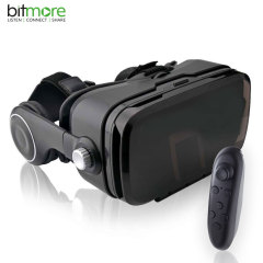 Discover new worlds through your smartphone with the Bitmore VR Eye Plus. This sturdy, high-quality headset comes complete with a Bluetooth controller and built-in audio capability, adding even more immersion to your favourite VR content.